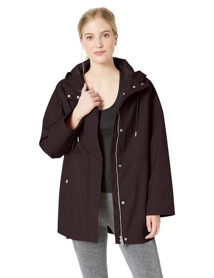 Calvin Klein Women's Hi Lo Hooded Rain Slicker