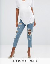 Asos Original Mom Jeans in Jana Mid Stonewash with Busts and Stepped Hem With Under The Bump Waistband