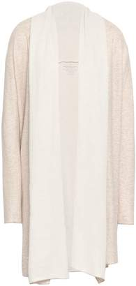 Majestic Filatures Draped Two-tone Cotton And Cashmere-blend Cardigan