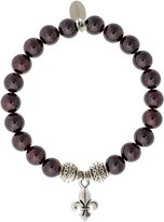 EvaDane Natural Semi Precious Garnet Gemstone Tibetan Bead Fleur de Lis Charm Stretch Bracelet - Size 7 Inch ( 1_GAR_S_T_FLE_7)