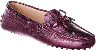 Tod's Gommino Metallic Leather Moccasin