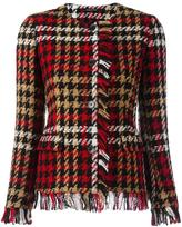 Tagliatore plaid frayed jacket