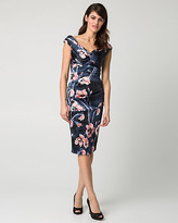 Le Château Floral Print Satin V-Neck Cocktail Dress
