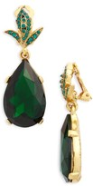 Oscar de la Renta Women's Crystal Teardrop Clip Earrings