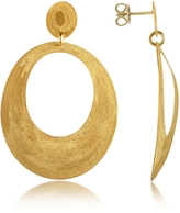 Stefano Patriarchi Golden Silver Etched Oval Cut Out Drop Earrings