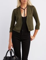 Charlotte Russe Cropped Open Front Blazer