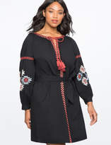 ELOQUII Tie Neck Embroidered Dress