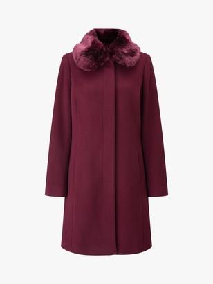 Four Seasons Faux Fur Collar Coat, Berry