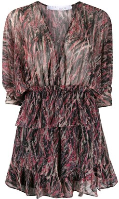 IRO Abstract-Print Ruffled Playsuit