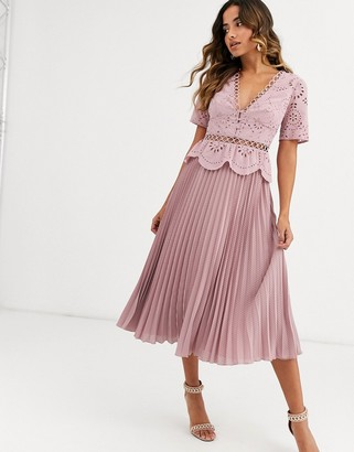 Asos DESIGN broderie button front pleated midi tea dress in mink