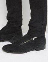 Asos Chelsea Boots In Black Suede With Wrap Over Zip