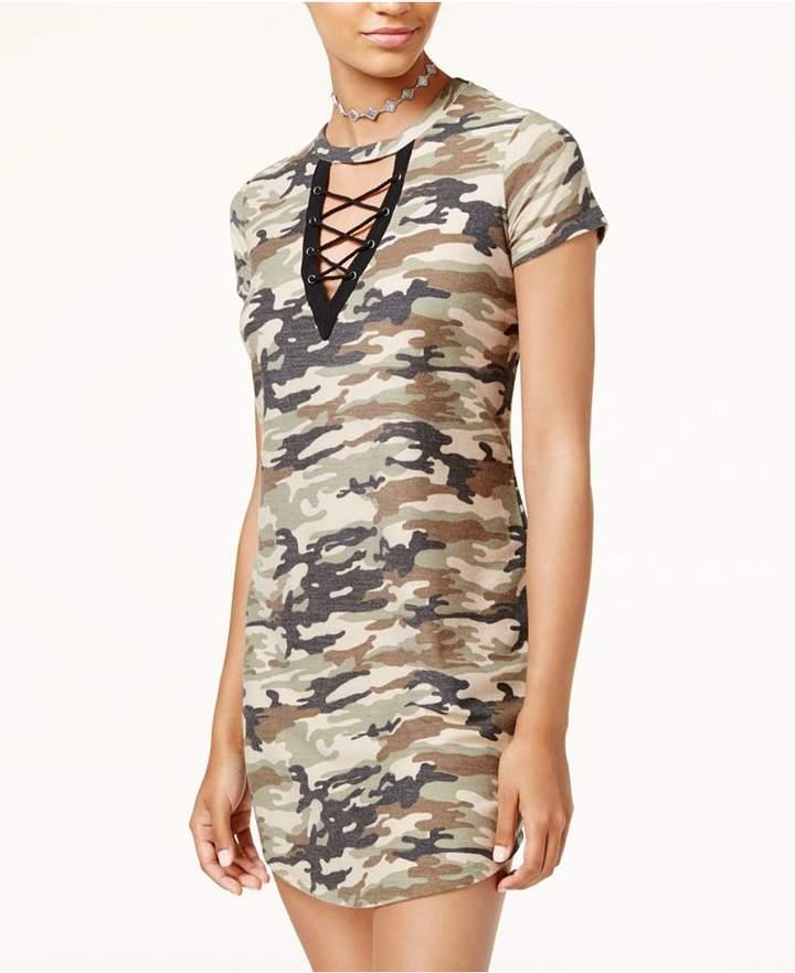 Ultra Flirt Juniors' Lace-Up Graphic T-Shirt Dress