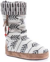 Muk Luks Maribelle Patterned Knit Faux Fur Lined Slipper