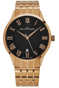 Stuhrling Original Alexander Watch A103B-04, Stainless Steel Rose Gold Tone Case on Stainless Steel Rose Gold Tone Bracelet