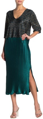 Tov Colorblock Metallic Plisse Pleated Midi Dress