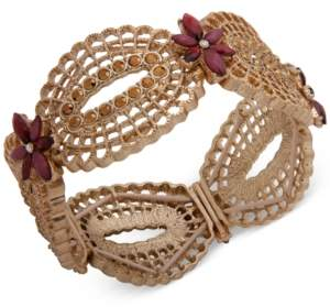 lonna & lilly Gold-Tone Pave & Stone Flower Openwork Stretch Bracelet