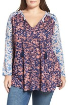 Lucky Brand Plus Size Women's Shoulder Detail Mixed Floral Knit Top