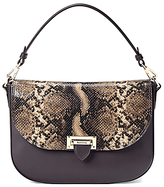 Aspinal of London Letterbox Leather Slouchy Saddle Bag, Tan Snake / Brown