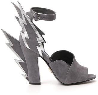 Prada Thunderbolt Detail Ankle Strap Sandals