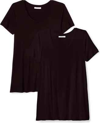 Daily Ritual Amazon Brand Jersey Short-Sleeve Scoop Neck Swing T-Shirt Chemise Noir Black BLKBLK US (XS-S) Lot de 2