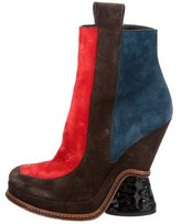 Fendi Colorblock Wedge Ankle Boots