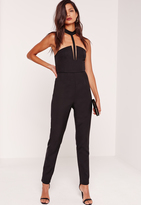 Missguided Crepe T-Bar Romper Black