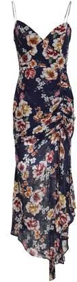 Nicholas Asymmetric Ruched Floral-print Silk-georgette Midi Dress
