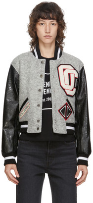 Opening Ceremony Grey Cropped Varsity Bomber Jacket