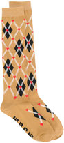 MSGM plaid embroidered socks - women - Cotton/Polyester/Spandex/Elastane - One Size