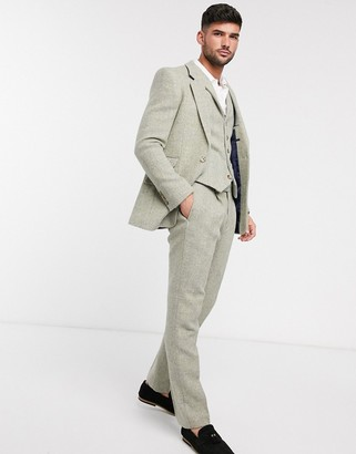 ASOS DESIGN slim suit pants in 100% wool Harris Tweed in stone herringbone