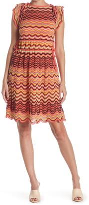 M Missoni Cap Sleeve Patterned Midi Dress