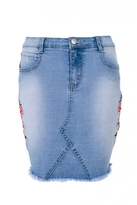 Quiz Light Blue Embroidered Denim Skirt