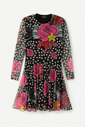 Desigual Black Dots and Flowers Short Dress