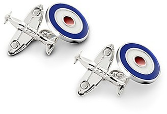 Aspinal of London Sterling Silver & Enamel Plane Cufflinks