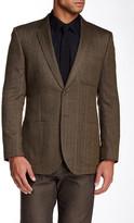 English Laundry Herringbone Two Button Notch Lapel Wool Blend Jacket