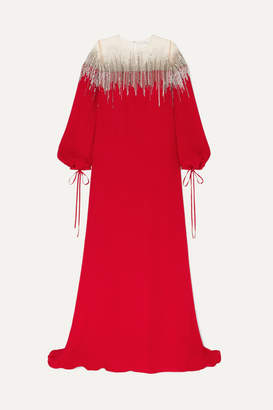 Oscar de la Renta Embellished Silk-crepe And Tulle Gown - Red