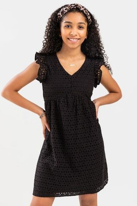 francesca's franki Eyelet Ruffled Mini Dress for Girls - Black