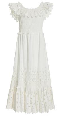 Sea Hazel Smocked Broderie Anglais Cotton Midi Dress