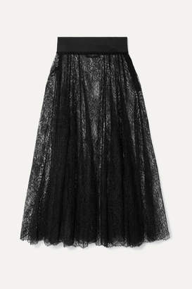 I.D. Sarrieri Bella Pleated Lace Midi Skirt - Black