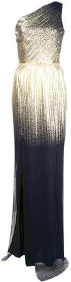 Marchesa metallic pleated gown