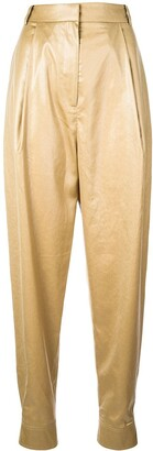 Tibi Pleated Leather Effect Trousers