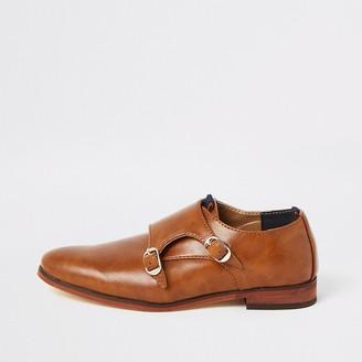River Island Boys brown monk strap shoes