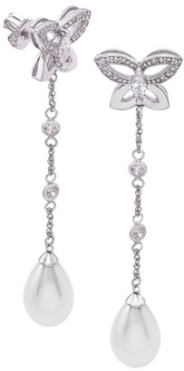 Majorica Sterling Silver, Faux Pearl & Cubic Zirconia Butterfly Earrings
