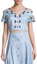 Peter Pilotto Off-the-Shoulder Lace-Trim Cropped Top, Blue