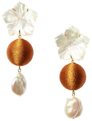 Lizzie Fortunato Paper White 17MM Baroque Pearl & Mother-Of-Pearl Flower Drop Earrings