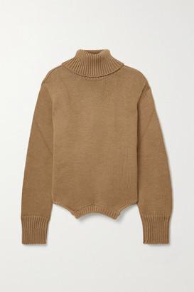 Monse Upside Down Oversized Cutout Merino Wool Turtleneck Sweater - Sand