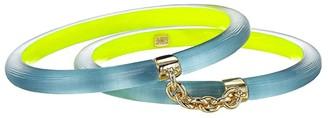Alexis Bittar Chain Linked Double Skinny Bangles (Montana Blue/Neon Yellow) Bracelet