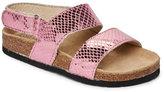 Old Soles Toddler Girls) Pink Bondi Snake Embossed Flat Footbed Sandals