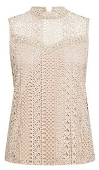 Dorothy Perkins Womens Stone Sleeveless Lace Blouse