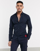 HUGO Ero3-W poplin shirt in navy